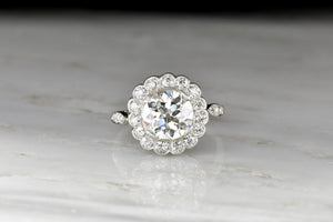Art Deco Era 2.07 Carat Old European Cut Diamond Engagement Ring