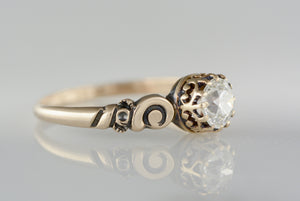 Victorian / Art Nouveau Rose Gold Engagement or Stacking Ring with .57 Old European Cut Diamond Center