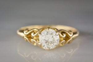 .90 Carat Old European Cut Diamond in a 14K Yellow Gold Victorian / Art Nouveau Engagement or Anniversary Ring