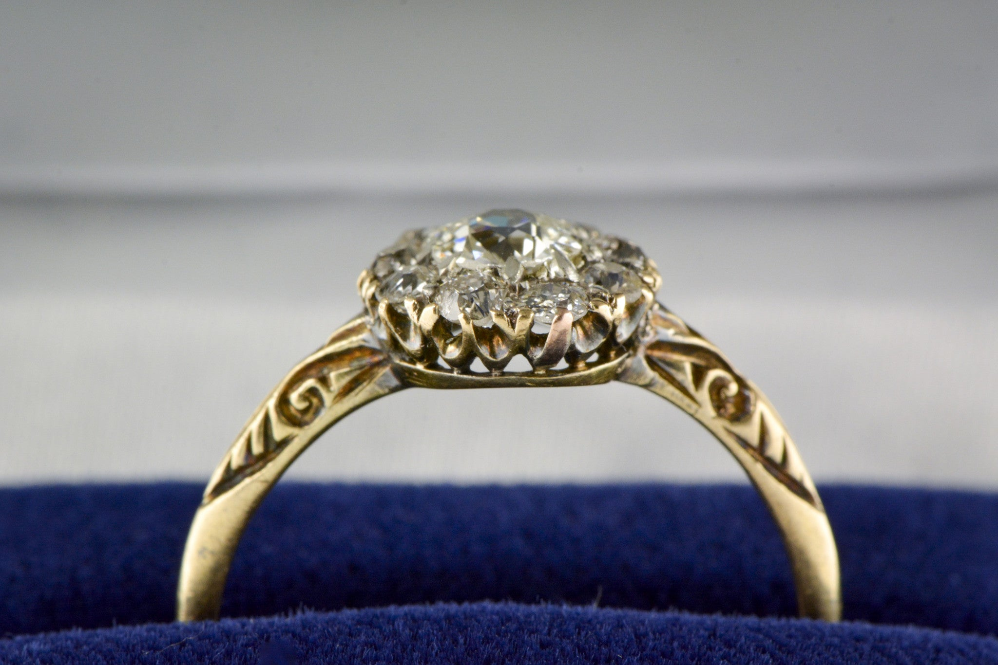 50 Carat Old European Cut Diamond in 18K Rose Yellow Gold Victorian Pebb