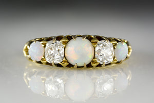 Antique Victorian Opal and Old Mine Cushion Cut Diamond Ring in 18K Gold