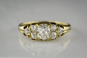Victorian Gold Engagement Ring with GIA Certified .79 Carat Old Mine Cut Diamond Center and 1.00 ctw Old Mine Cut Diamond Accents
