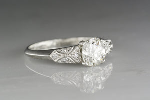 1.20 Carat Early Old European Cut Diamond in Antique Platinum and Diamond Edwardian-Retro Edwardian Engagement Ring