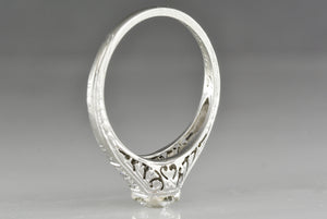 Antique Late-Edwardian / Early Art Deco 18K White Gold Engagement Ring with .55 Carat Old European Cut Diamond Center