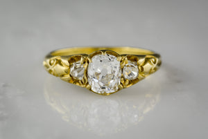 Antique Victorian GIA Certified Old Mine Cut Diamond and 18K Yellow Gold Engagement Ring