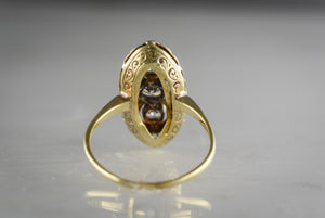 Antique Victorian / Pre-Art Deco Three-Stone Old European Cut Diamond in 14K Rose-Yellow Gold and Platinum Navette / Marquise / Shield Ring