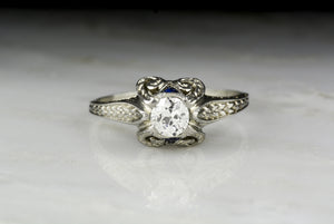 Antique Edwardian, Art Deco Old Mine Cut Diamond and Sapphire Engagement Ring in 18K White Gold with Ancient Greek Ionic Column Motif