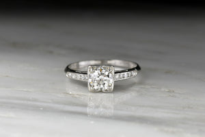 Classic Mid Century Box-Set Engagement Ring with an Old European Cut Diamond Center