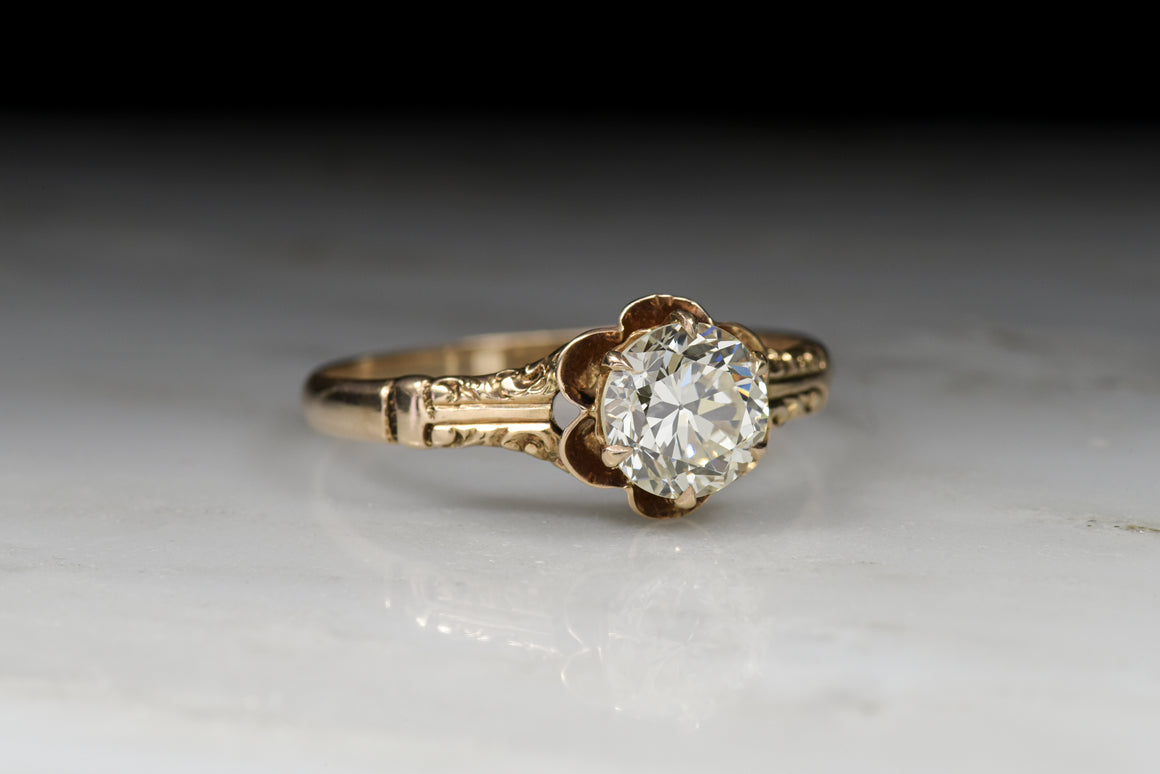 Victorian Engagement Ring with a 1.25 Carat Old European Cut Diamond in a Rose Gold Buttercup Setting