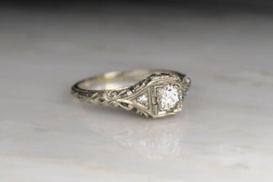 Vintage c. 1930s Lambert Bros. Ornate Diamond Engagement Ring