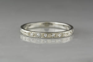 Antique Edwardian / Art Deco / Retro Diamond Wedding Band; Stacking or Anniversary Ring