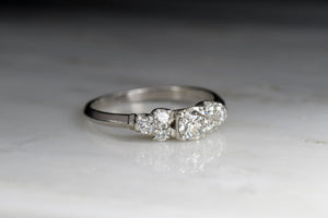 Art Deco / Retro Engagement Ring or Stacking Ring with a Transitional Cut Diamond Center and Round Brilliant Cut Diamond Accents
