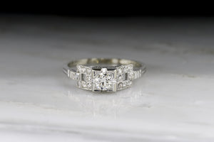 Vintage Art Deco / Retro Old European Cut Diamond Engagement Ring