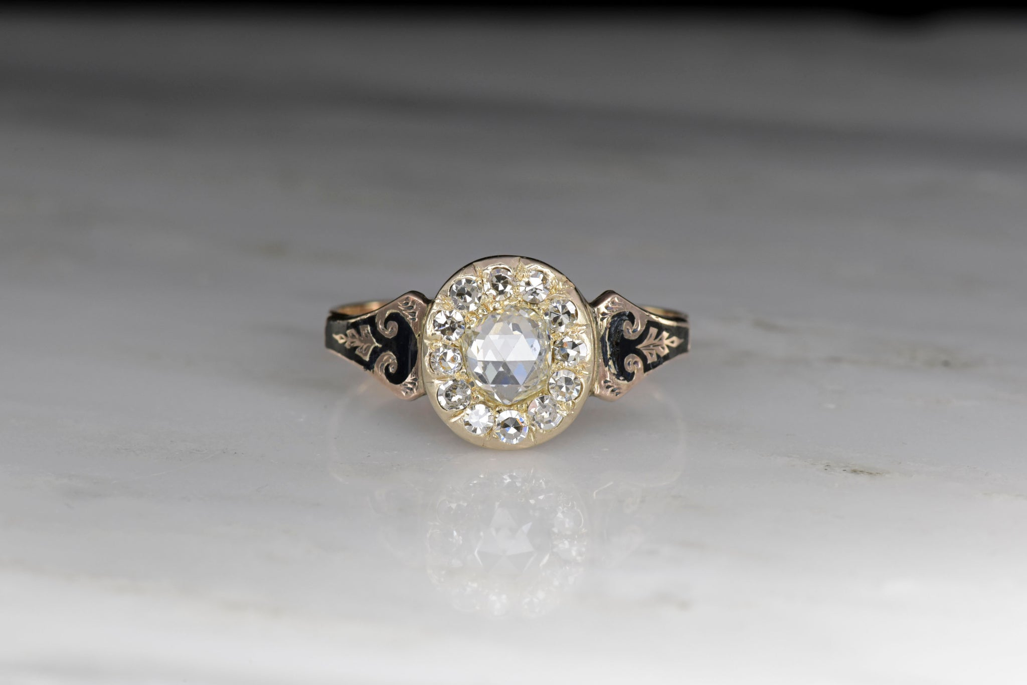 d50971e338bb2 English 1876 Rose Gold and Black Enamel Halo Ring with an Antique Rose Cut  Diamond Center