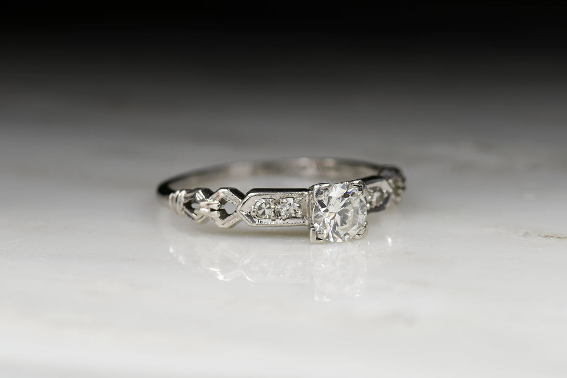 Petite Art Deco Diamond Engagement Ring or Stacker