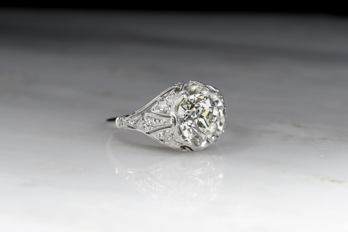 GIA Certified 1.42 Carat Old European Cut Diamond in a 1910s Edwardian Engagement Ring