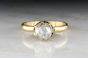 Victorian Antique Rose Cut Diamond Solitaire Engagement Ring