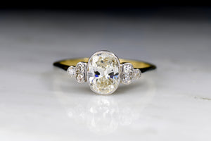 Antique Victorian Oval Cut Diamond Engagement Ring in Gold, Platinum