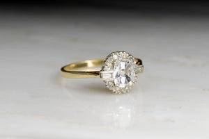 Vintage Late Retro / Victorian Revival Rectangular Cushion Cut Diamond Engagement Ring