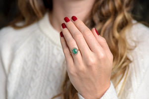 Victorian Emerald and Rose Cut Diamond Cluster Ring