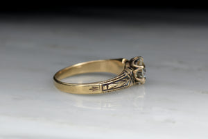 Antique Victorian Gold and Black Enamel Solitaire Engagement Ring