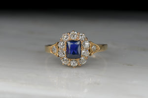Victorian Rectangular Cut Sapphire and Old Mine Cut Diamond Cluster/Halo Ring