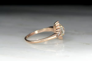Vintage Rose Gold Engagement Ring with an GIA Certified Old European Cut Diamond Center