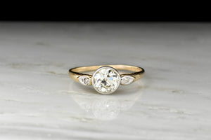Bezel Set GIA .90 Carat Old European Cut Diamond Engagement Ring