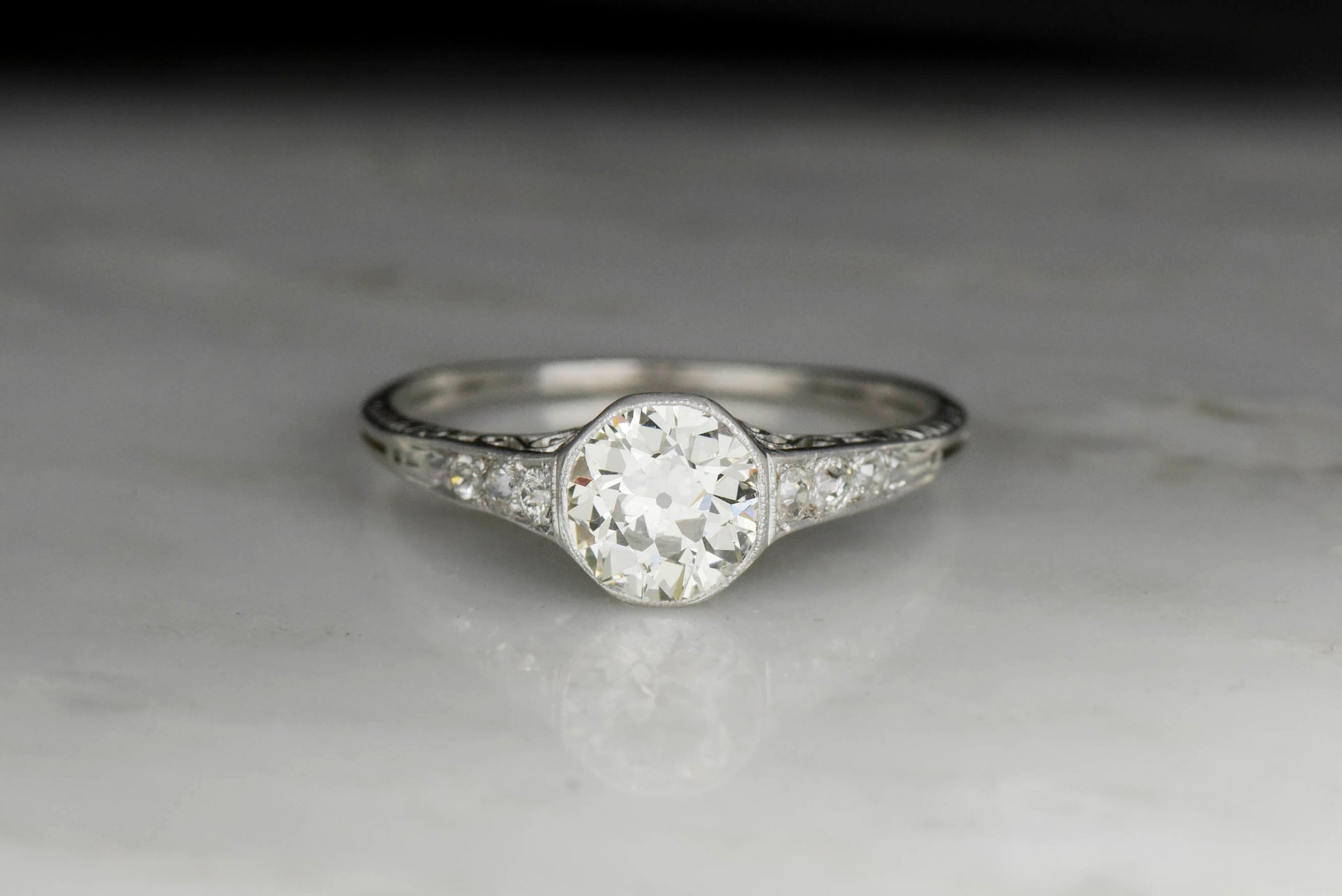 3f83f565a Late Edwardian GIA 1.11 Old European Cut Diamond Engagement Ring
