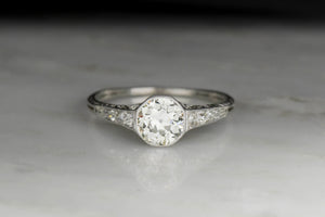 Late Edwardian GIA 1.11 Old European Cut Diamond Engagement Ring