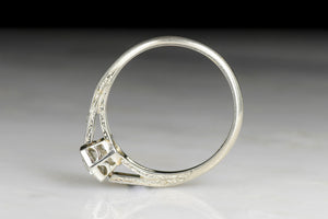 c. 1930s Hexagonal Basket Engagement Ring with Engraved Cathedral Shoulders