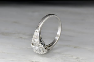 GIA 1.51 Carat Old Mine Cut Diamond in a c. 1930s Art Deco Engagement Ring with a French Hallmark