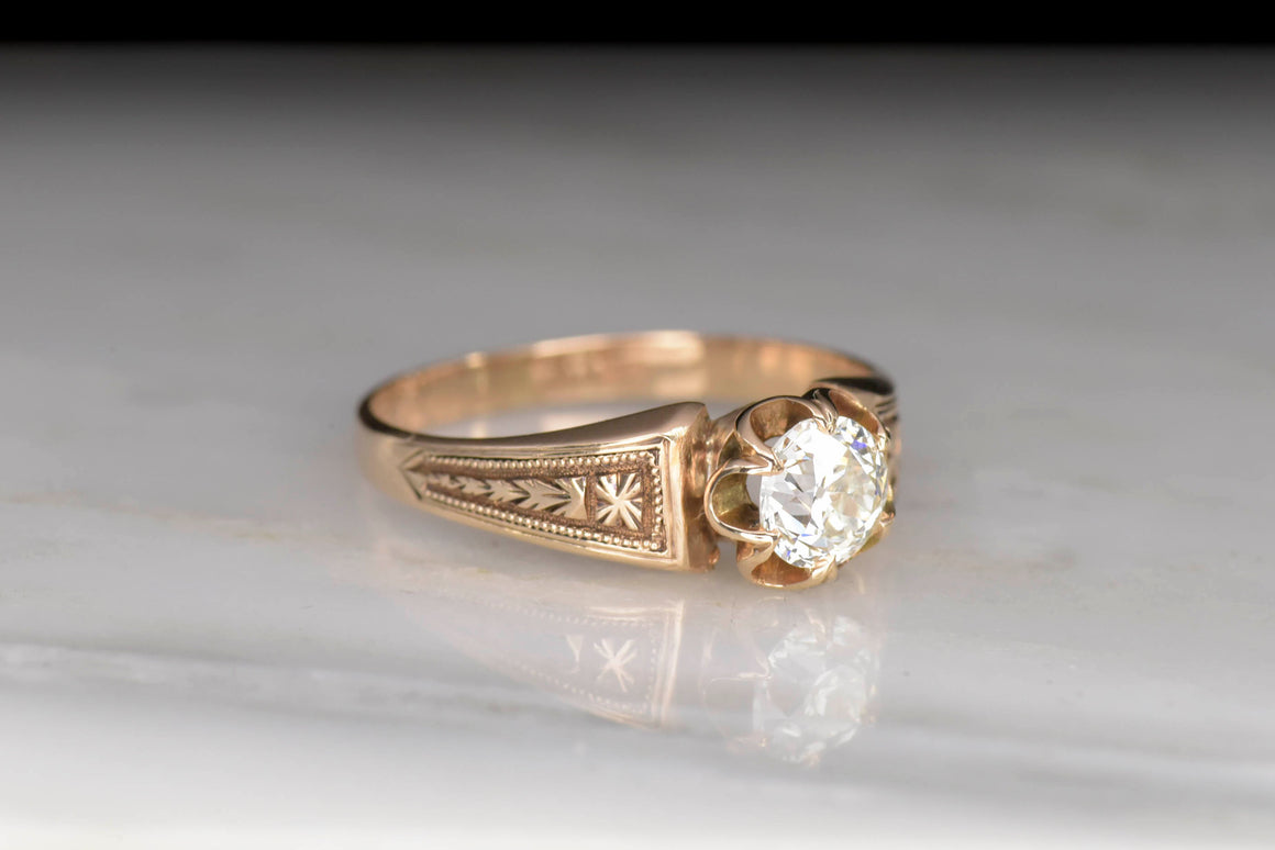 Victorian Buttercup Engagement Ring With Feint Patina