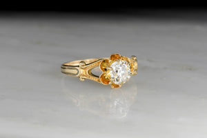 Late Victorian Buttercup GIA .99 Carat Diamond Engagement Ring