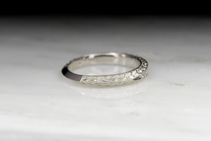 Vintage Scott Kay Edwardian Revival Engraved Diamond Wedding Band