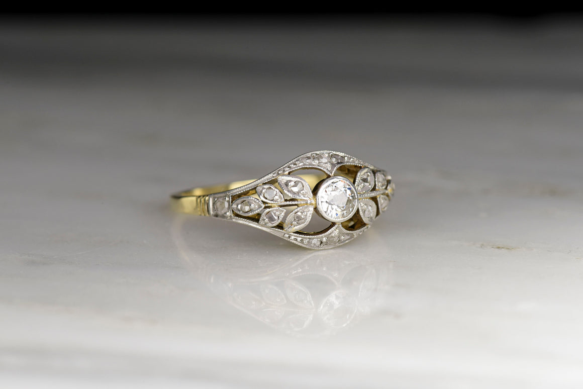 Edwardian Yellow Gold and Platinum Women's Ring with Branch and Leaf Filigree