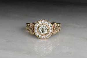 Victorian Diamond Halo Engagement Ring with Ornate Engraved Shank