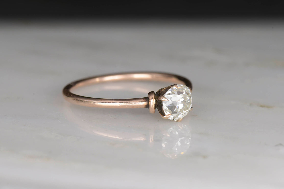 Victorian Diamond Solitaire and Rose Gold Engagement Ring