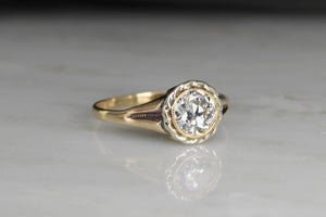 Old European Cut Diamond Tri-Tone Gold Engagement Ring