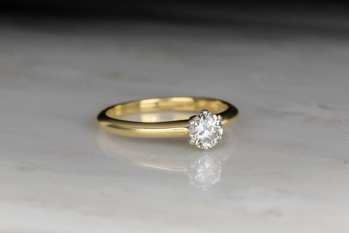 Vintage Tiffany & Co. Solitaire Engagement Ring with a GIA .39 Carat Round Brilliant Cut Diamond