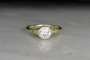 Victorian Revival Engagement Ring in Green Gold with Ornate Filigree