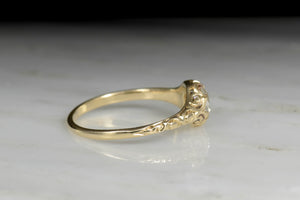 Low-Profile Engraved Diamond Engagement Ring