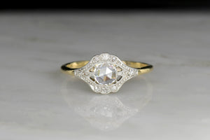 Belle Époque Gold and Platinum Ring with a Rose Cut Diamond Center