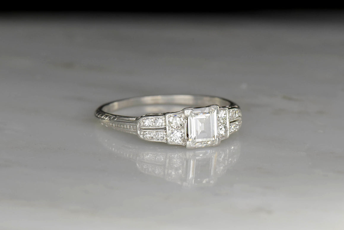 Art Deco Emerald Cut Diamond Engagement Ring