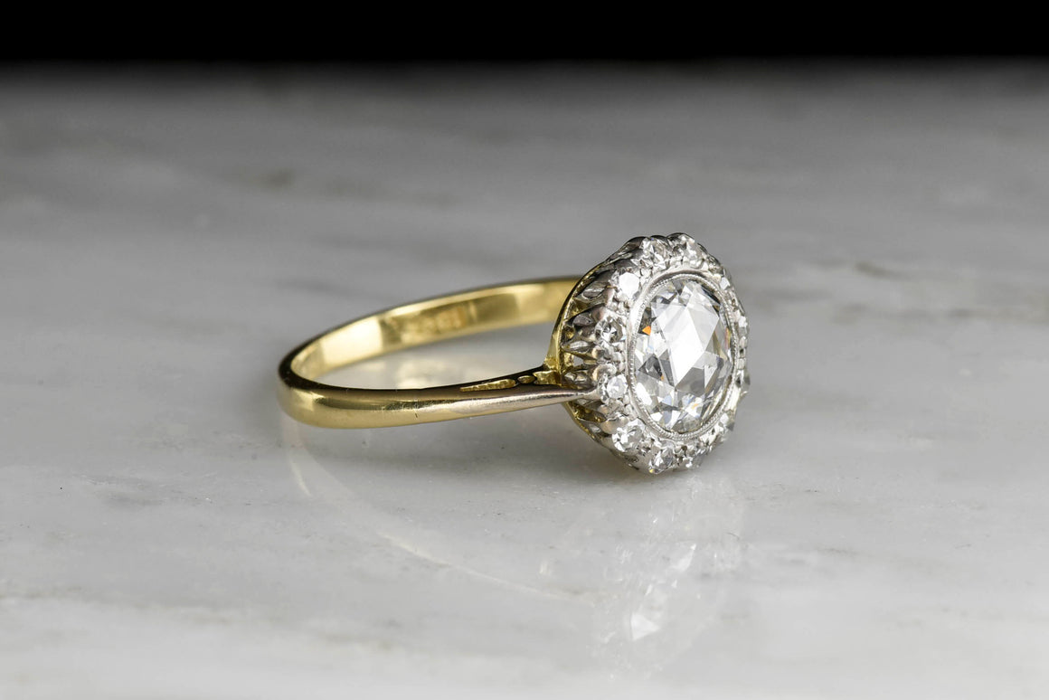 Victorian Rose Cut Diamond Halo Ring