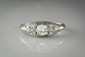 Antique Edwardian / Art Deco Marquise Diamond Engagement Ring with Old European Cut Diamond Center RPO561
