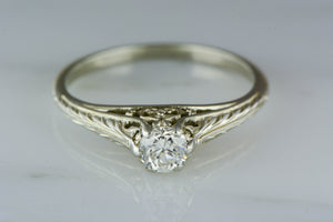 Victorian / Edwardian / Art Nouveau 18K White Gold Engagement Ring with .40ct Old European Cut Diamond RPO759