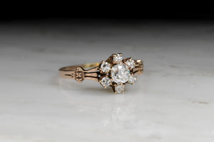 Victorian Old Mine Cut Diamond Cluster Engagement Ring with Split Tripartite Shank