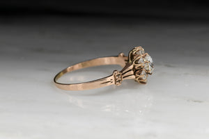 Antique Victorian Old Mine Cut Diamond Cluster Engagement Ring with Split Tripartite Shank