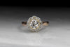 Antique Victorian Old European Cut Diamond Engagement Ring with Rose Cut Diamond Halo